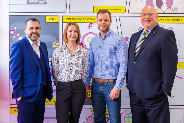 Press shot of Chris and Senga Kean at their office at Sunderland BIC. Photographed with Paul McEldon (chief executive of North East BIC) and Sunderlands Councillor Gareme Miller